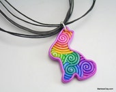 Pastel Rainbow Easter Bunny Pendant in Polymer Clay Filigree