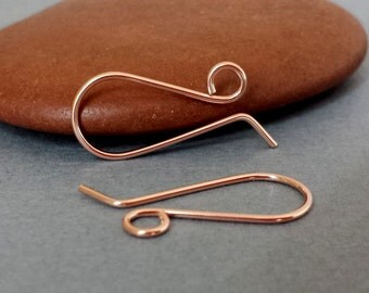 Handmade Ear Wires, 14k Rose Gold Filled Retro French, Artisan Earwire Findings Made in USA