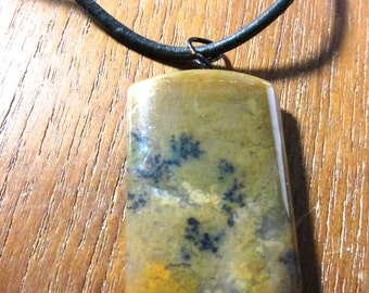 Natural Chalcedony Stone Necklace- Leather