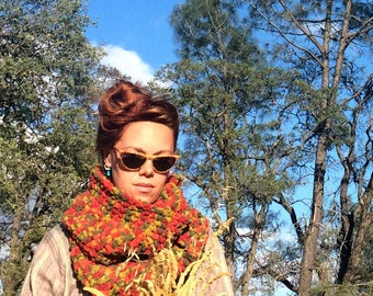 SALE! Colorful Circle Scarf. Chunky / Funky / Earth Tones / Infinity Cowl Ready to Ship!