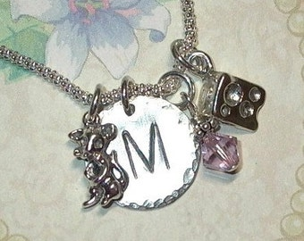Mouse and Cheese Hand Stamped Sterling Silver Initial Charm Necklace - Mouse Jewelry