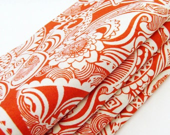 Tangerine Dream Cotton Napkins / Set of 4 / Orange & Cream Baroque Paisley Elegant Table Decor / Unique Eco-Friendly Gift Under 50