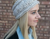 Crochet ear warmer, cable stitch. Oatmeal. Thick and very warm. fits Teen to adult size