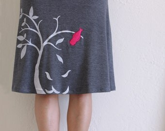 Lovely Design Skirt for Women, Gray Plus Size Skirt, Strechy Midi Skirt, Super cute bird applique skirt-The bird and the falling leaves