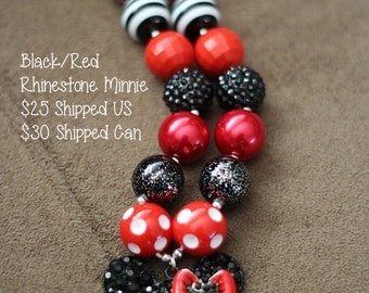 SALE 25% off! Black Red Rhinestone Minnie Mouse Chunky Bubblegum Necklace RTS