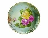 C. Tielsch & Co Antique 1887 Large  White Porcelain Rose Bouquet Hand Painted Chop Platter Display Plate Art Nouveau Jugendstil Beautiful