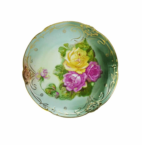 C. Tielsch & Co Antique 1887 Large  White Porcelain Rose Bouquet Chop Platter Display Plate Art Nouveau Jugendstil Beautiful