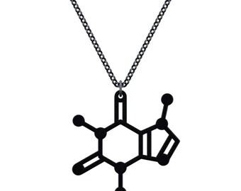 Small Caffeine Molecule Necklace - Matte Black