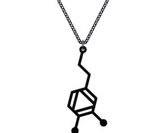 Small Dopamine Molecule Necklace - Matte Black