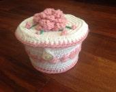 Crochet Trinket Box, Crochet Cupcake Box, Handmade Vintage Gift Box, Button Closing Lid, Cute Vanity Curio Vintage Ring Keeper, Jewelry Box
