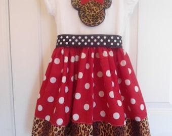 Custom Boutique Clothing Minnie Mouse Dress, Disney Safari Dress, Girls Red Dot Dress, Birthday Dress, Black Dot Sash, Custom Girls Dress