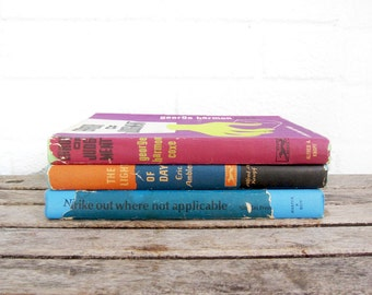 Mystery and Suspense - Collection of Three Vintage Hardcover Books - Bright Vintage Mid Century Novels - Graphic Design