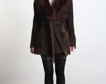 SALE - Faux Fur & Suede Coat . Winter Jacket