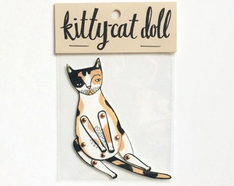 kitty cat moveable paper doll (calico)