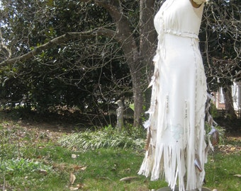 White Leather Wedding Dress Native American Inspired Boho Wedding dress Western Wedding Dress