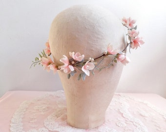 bridal hair vine, flower garland, blush pink flower, pink and mint, mint wedding hairpiece, bridal headpiece, flower girl wreath, headband