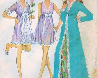 1960s McCall's 2177 Vintage Sewing Pattern Misses Peignoir and Nightgown Size 10 Bust 32-1/2