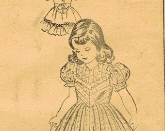 1940s Mail Order 2489 Vintage Sewing Pattern Girl's Party Dress, Tailored Dress Size 4