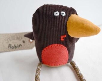 Winter Robin Small brown Handmade Plush Bird