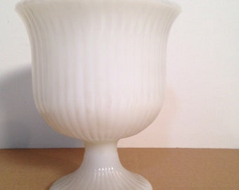vintage milk glass vase - fluted milkglass pedestal vase