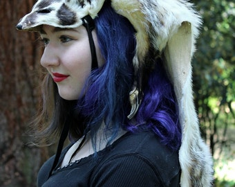 American badger headdress by Lupa - full hide badger headdress with paws totem dance costume for shamanic ritual and dance