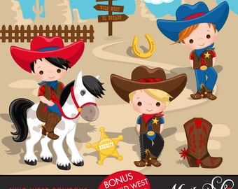 Cowboy Clipart. Wild West Cute Cowboy Clipart- Red & Blue. Cowboy boots, sheriff, horses, cowboy graphics, lasso, commercial, cactus, art