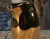Golden Glo Hall Water Jug Large Pitcher 22 Caret Gold Sparkle Made in USA  Holiday Entertaining Vintage
