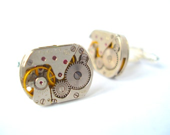 Steampunk Cufflinks with Rubies, Watch Cufflinks, Watch Movement Cufflinks, Handmade silver plated