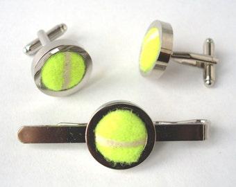 Cufflinks and Tie Bar made from Real Tennis Balls, Groomsmen Cufflinks & Tie Clip, Wedding Cufflinks, Tie Slide, Groom Cufflinks