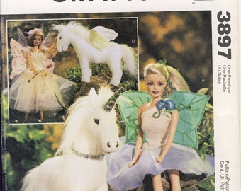 """McCalls 3897 Flower Fairly Outfit for 1 1/2"""" Fashion Doll  Unicorn Pegasus Sewing Pattern Shipping to USA INCLUDED"""