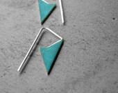 Small Spike Earrings - brass earrings, verdigris earrings, sterling silver earrings, patina, small earrings, made in Italy
