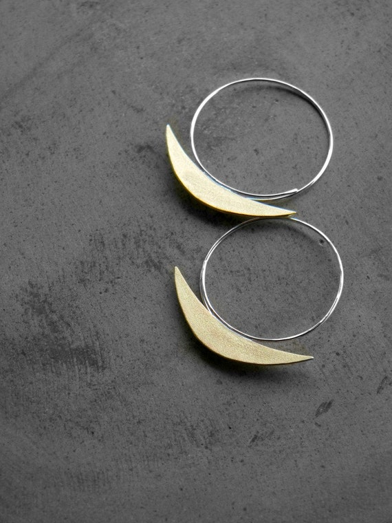 Sterling Silver  and Brass Geometric Hoops - Boat on a Stream Earrings - handmade sterling silver hoop brass, made in Italy