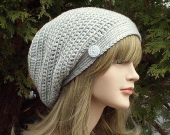 Light Gray Slouchy Beanie, Womens Crochet Hat, Oversized Slouch Beanie, Hipster Hat, Baggy Beanie, Slouchy Hat with Button