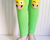 Emoji Leggings Crazy Emoji Tights Silly Emoji Leggings Emoticon Leggings Funny Face Tights Girls Sizes  2T, 3T, 4/5, 6/7, 8, 10