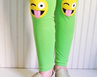 Emoji Leggings. Girls Leggings. Emoji Birthday Gift. Emoji Clothing. Toddler Leggings. Emoticon. Emoji gift. Tween Girl Gift. Emoji Tights.