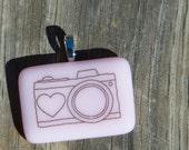 Fused Glass Pendant - Camera - black on light pink