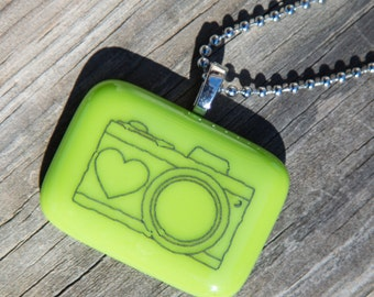 Fused Glass Pendant - Camera - black on bright green