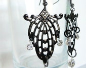 Gothic steampunk black earrings with crystals Victorian Inspired perfect for that date night, made of honor, or bride to be - Dark Decadence