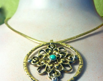 Dramatic Ornamental Cross necklace - Brass with turquoise on hand Forged brass collar