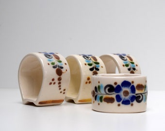 Tonala Jalisco Napkin Rings Set of 4 Flowers Blue Brown Mexican Pottery