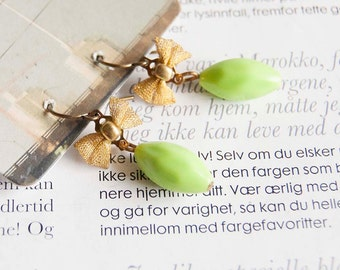 Rachel - lime green earrings with mesh bows
