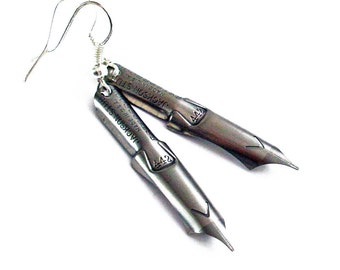 Inspirational Words - Vintage Pen Nibs Earrings Jewelry