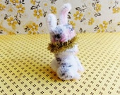 Cookie the bunny -Vintage Style Handmade Chenille Dollhouse Figurine, Artisan Miniature Pipe Cleaner Animal Doll, Wire Ornament 42915