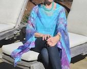AMALFI SILK CAFTAN top hand dyed silk tie dye caftan top boho chic retro designer original plus size top SilkSiren  Lynn Meek cruise wear