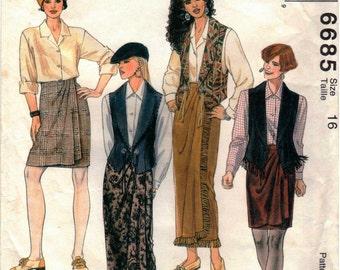 Vintage UNCUT McCall's Pattern 6685 - Misses Vest, Shirt & Wrap Skirt - Size 16