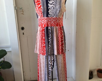 1960s Retro Red, White, & blue Print Pantsuit Sleeveless Tunic and Pants