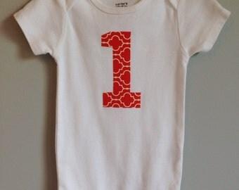 SALE! Birthday Bodysuit in Orange geometric print - birthday shirt - birthday onesie