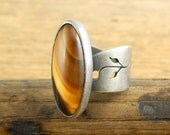 Tiger's eye ring, hand-cut sterling silver band, adjustable band with leaf design, large oval stone, ready to ship.