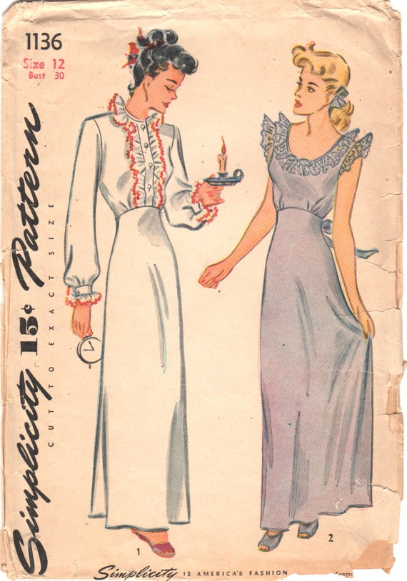 Simplicity 1136 1940s Ladies Lingerie Pattern Misses Nightgown Negligee Pattern Womens Vintage Sewing Pattern Size 12 Bust 30