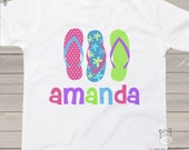 Summer flip flop girls personalized Tshirt - perfect for a day at the beach